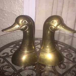 Vintage Leonard Brass Duck Head Bookends
